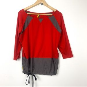 Lole workout top size S red grey drawstring